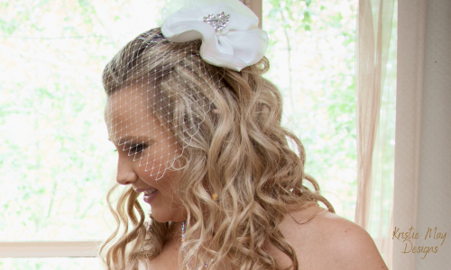 Kristie May Designs - Fashion - Bridal Fascinator and Birdcage Veil